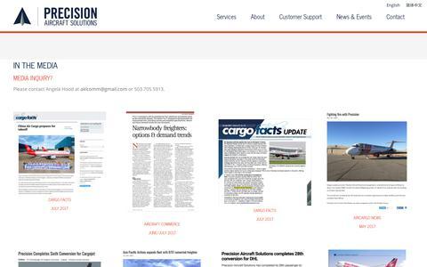 Screenshot of Press Page precisionaircraft.com - IN THE MEDIA - Precision Aircraft - captured Sept. 29, 2018