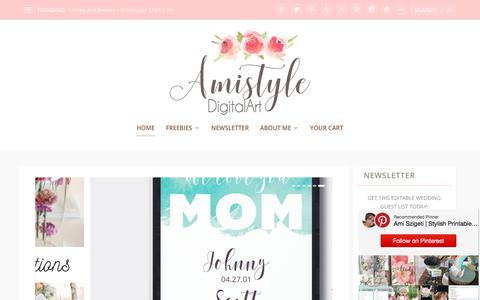 Screenshot of Home Page amistyledigitalart.com - Stylish Printables, Watercolor Clipart, Wedding Stationery - captured July 5, 2018