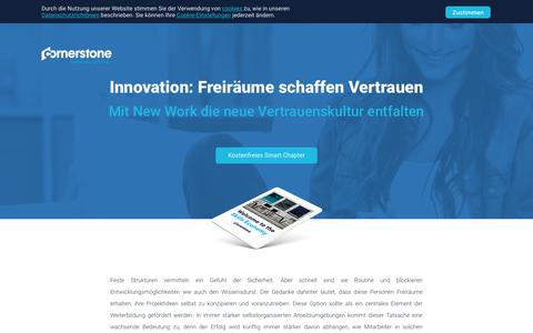 Screenshot of Landing Page cornerstoneondemand.com - Innovation: Freiräume schaffen Vertrauen - Mit New Work die neue Vertrauenskultur entfalten - captured Sept. 19, 2018