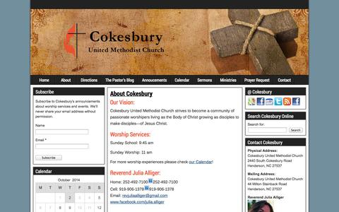 Screenshot of About Page cokesburymethodist.org - About Cokesbury | Cokesbury United Methodist Church - captured Oct. 2, 2014