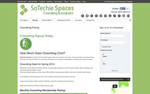 Screenshot of Pricing Page sotechiespaces.com - SoTechie Spaces NYC Coworking Pricing. How Much Does Coworking Cost? - captured Sept. 23, 2014