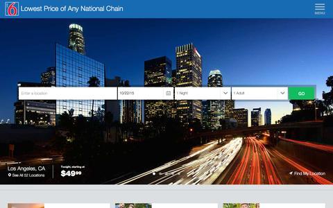 Screenshot of Home Page motel6.com captured Oct. 22, 2015