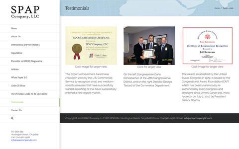Screenshot of Testimonials Page spapcompanyllc.com - Testimonials - SPAP Company, LLC - captured July 13, 2018