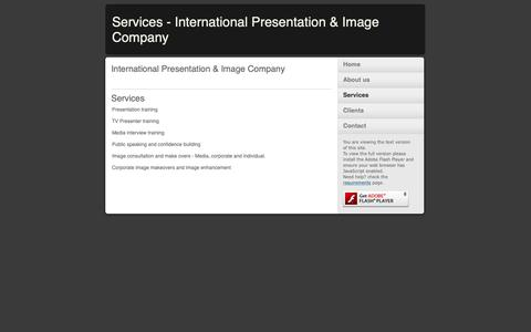 Screenshot of Services Page internationalpresentationandimage.com - Services - International Presentation & Image Company - captured Oct. 12, 2018