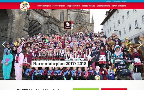 Screenshot of Home Page facedu.de - Karneval, Kinderfasching, Weiberfastnacht in Erfurt Thüringen - Karnevalsverein KV FACEDU e.V. - captured April 3, 2017