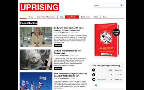 Screenshot of Case Studies Page uprisingmovements.com - Case Studies | Uprising - captured Jan. 25, 2018