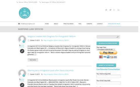 Screenshot of Blog sarponglaw.com - Welcome, Denver (CO) US Immigration Attorneys & Deportation Lawyers | Sarpong Law Offices - captured Oct. 2, 2014