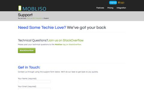 Screenshot of Support Page mobliso.com - Tech Support | Mobile Commerce Customer Support | Mobliso - captured June 12, 2017