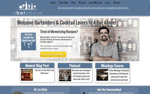Screenshot of Home Page abarabove.com - A Bar Above - A Bar Above Mixology - captured Sept. 26, 2014