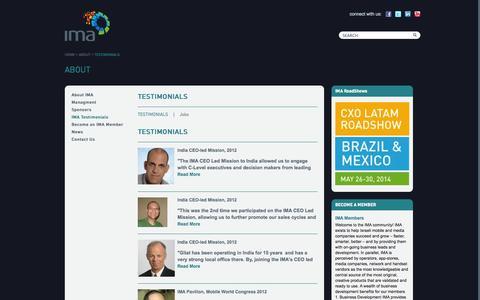 Screenshot of Testimonials Page imaworld.org - IMA - captured Oct. 6, 2014