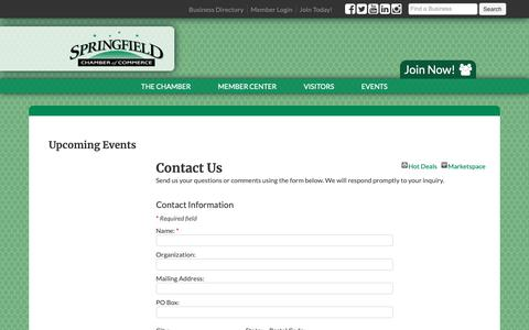 Screenshot of Contact Page springfield-chamber.org - Contact Us - Springfield Area Chamber of Commerce - captured Oct. 18, 2018