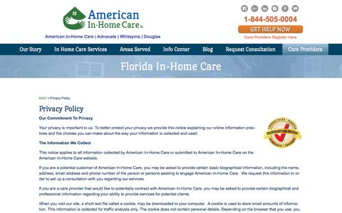 Screenshot of Privacy Page americaninhomecare.com - Private Home Healthcare Agencies, Live In Elderly Care - American In-Home Care - captured Nov. 4, 2017