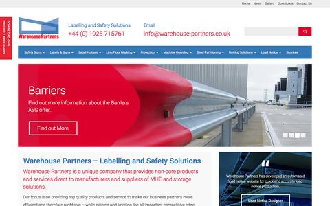 Screenshot of Home Page warehouse-partners.co.uk - Warehouse Partners - Labelling and Safety Solutions - captured Feb. 13, 2016