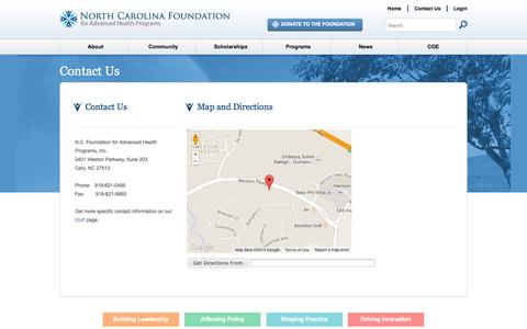 Screenshot of Contact Page Maps & Directions Page ncfahp.org - Contact Us - North Carolina Foundation for Advanced Health Programs - captured Oct. 26, 2014