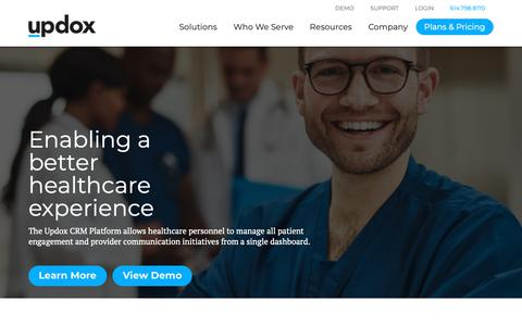 Screenshot of Home Page updox.com - Updox - Simplifying the business of healthcare. - captured Oct. 3, 2018
