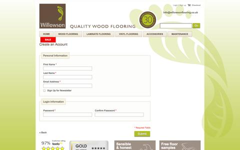 Screenshot of Signup Page willowsonflooring.co.uk - Create New Customer Account - captured Oct. 7, 2014