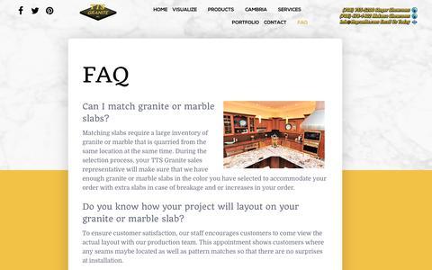 Screenshot of FAQ Page ttsgranite.com - FAQ - captured June 17, 2017