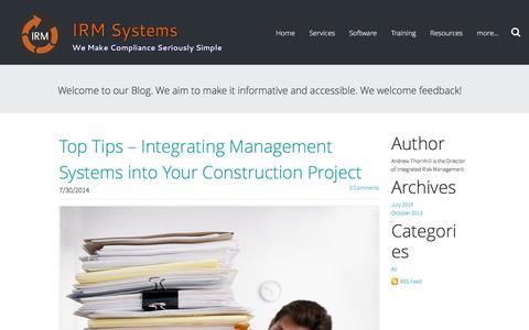 Screenshot of Blog irmsystems.com.au - IRM Systems - Compliance management news - captured Feb. 11, 2016