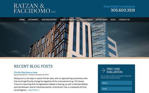 Screenshot of Blog rflawgroup.com - Florida Marijuana Laws | Miami Criminal Defense Attorneys - captured Oct. 26, 2014