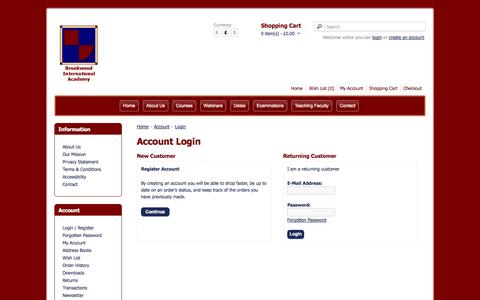 Screenshot of Login Page brookwoodacademy.org - Account Login - captured Oct. 27, 2014