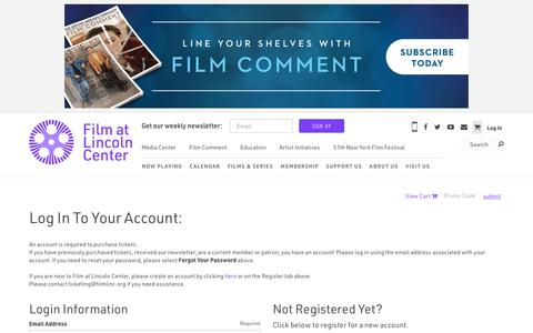 Screenshot of Login Page filmlinc.org - Log In | Film at Lincoln Center - captured Oct. 14, 2019