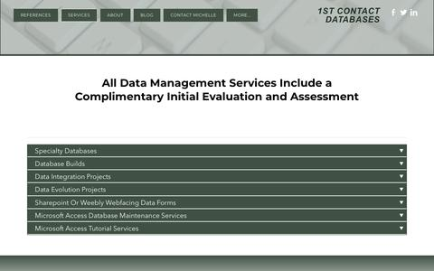 Screenshot of Services Page 1stcontactdatabases.com - Services - 1ST CONTACT DATABASES - captured Oct. 18, 2018