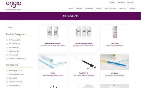 Screenshot of Products Page origio.com - All Products – ORIGIO - captured June 13, 2017