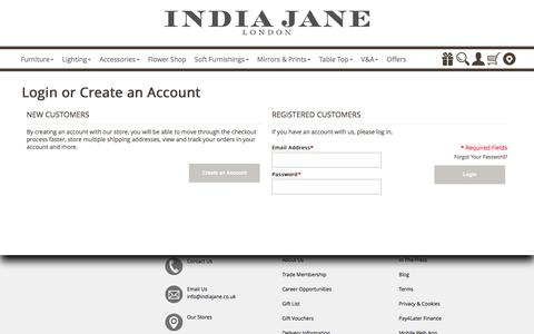 Screenshot of Login Page indiajane.co.uk - Customer Login - India Jane - captured June 8, 2017