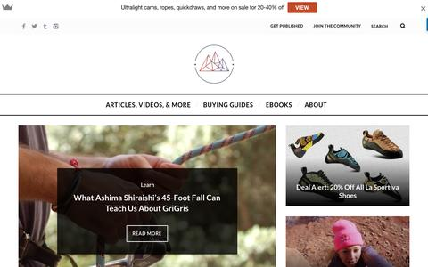 Screenshot of Home Page mojagear.com - Moja Gear | A Hub for All Things Rock Climbing - captured July 20, 2016