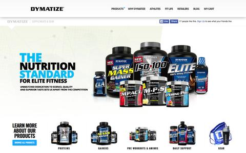 Screenshot of Products Page dymatize.com - Shop - captured Jan. 7, 2016