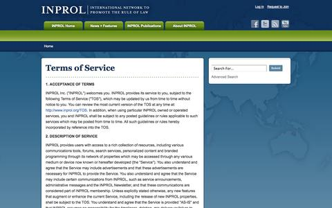 Screenshot of Terms Page inprol.org - Terms of Service   INPROL - captured Oct. 1, 2014