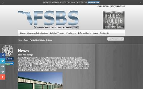 Screenshot of Press Page floridasteelbuildingsystems.com - News - Florida Steel Building Systems - captured Sept. 30, 2014