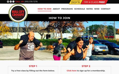 Screenshot of Signup Page bullcitycrossfit.com - How to Join – Bull City CrossFit - captured Aug. 4, 2018