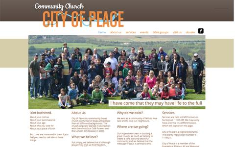 Screenshot of Home Page cityofpeace.co.uk - City of Peace Community Church on the Isle of Dogs - captured Oct. 2, 2014