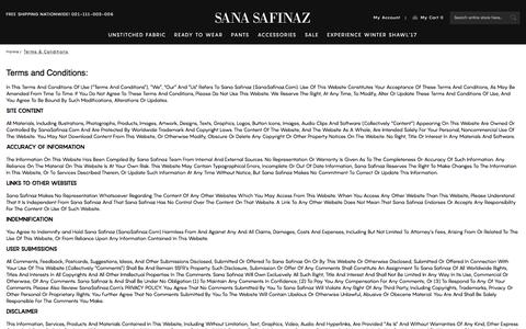 Screenshot of Terms Page sanasafinaz.com - Terms & Conditions - captured Jan. 26, 2018
