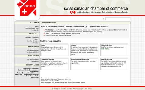 Screenshot of About Page swisscanadianchamber.com - Chamber Overview - Swiss Canadian Chamber of Commerce - captured Oct. 9, 2014