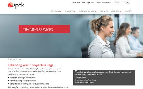 Screenshot of Support Page spok.com - Training Services | Customer Support | Spok - captured Oct. 26, 2018