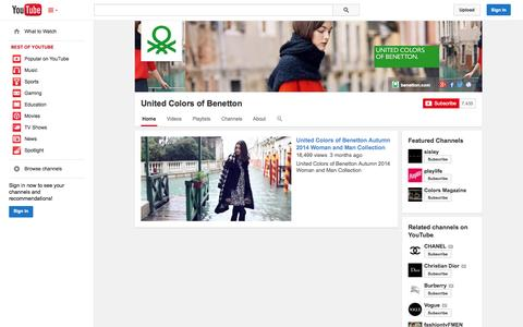 Screenshot of YouTube Page youtube.com - United Colors of Benetton  - YouTube - captured Oct. 23, 2014
