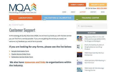 Screenshot of Support Page microqa.com - Customer Support - Microbiology & Quality Associates - captured Nov. 3, 2014