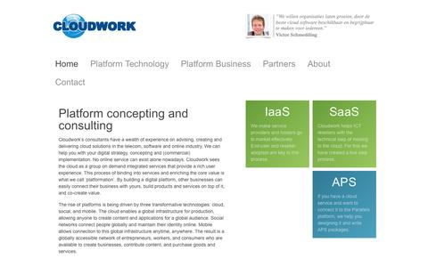 Screenshot of Home Page cloudwork.nl - Cloudwork, a cloud commerce company - captured Sept. 30, 2014