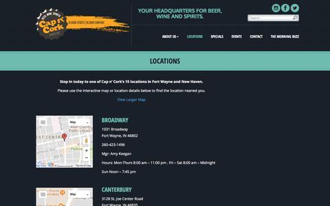 Screenshot of Locations Page capncork.com - Locations | Cap n' Cork - captured July 15, 2018