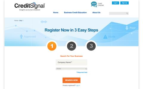 Screenshot of Signup Page creditsignal.com - Register for CreditSignal® in 3 Easy Steps   CreditSignal.com - captured Oct. 21, 2016