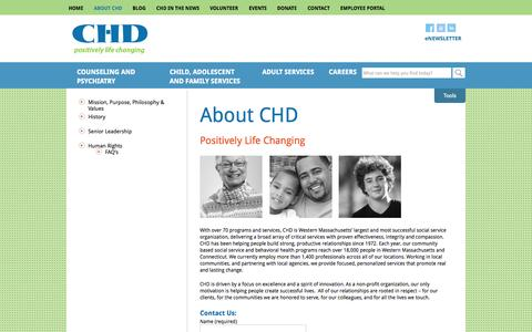 Screenshot of About Page chd.org - About CHD | CHD - captured Oct. 2, 2014