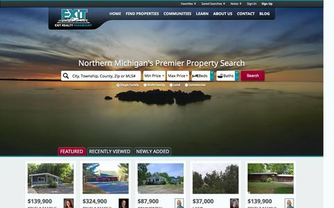 Screenshot of Home Page tcexit.com - Northern Michigan Real Estate and Homes for Sale - captured Jan. 24, 2016