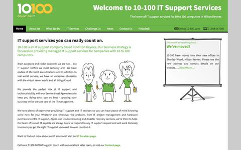 Screenshot of Home Page 10-100.com - Home - 10-100 IT Support Services - captured Oct. 18, 2017