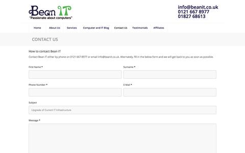 Screenshot of Contact Page beanit.co.uk - Contact Bean IT - Discuss your server and network requirements - captured Oct. 10, 2017