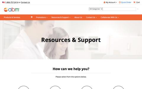 Screenshot of Support Page abmgood.com - Resources & Support | abm - captured Feb. 22, 2020