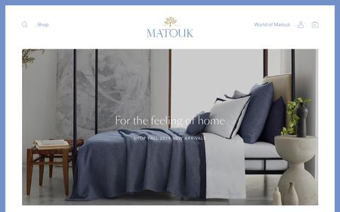 Screenshot of Home Page matouk.com - Matouk Luxury Linens - captured Sept. 17, 2019