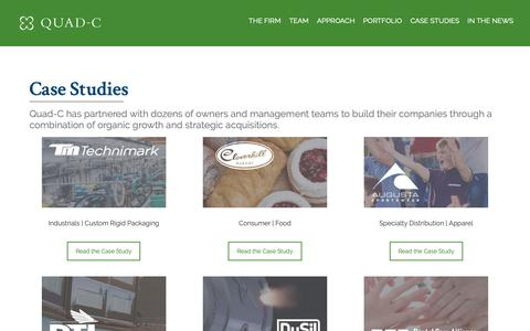 Screenshot of Case Studies Page quadcmanagement.com - Case Studies - Quad-C Management   Experienced Investment Partners - captured Sept. 27, 2018