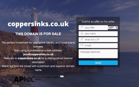 Screenshot of Home Page coppersinks.co.uk captured Nov. 5, 2018